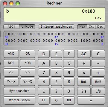Mac-OS-Taschenrechner im Programmierer-Modus